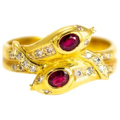 Vintage Ruby and Diamond 18 Carat Gold Serpent Ring
