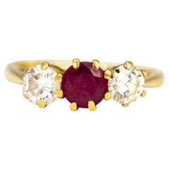 Vintage Ruby and Diamond 18 Carat Gold Three-Stone Ring