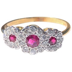 Vintage Ruby and Diamond 18 Carat Gold Triple Cluster Ring