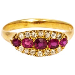 Vintage Ruby and Diamond 18 Carat Ring