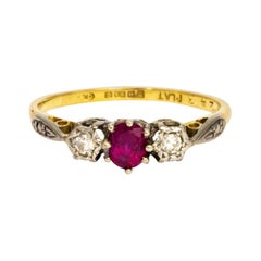 Vintage Ruby and Diamond 18 Carat Three-Stone Ring