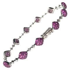 Vintage Ruby and Diamond 18 Carat White Gold Bracelet