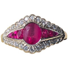 Vintage Ruby and Diamond 18 Carat White Gold Ring
