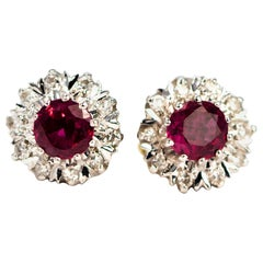 Vintage Ruby and Diamond 18 Carat Gold Cluster Stud Earrings