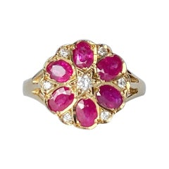 Vintage Ruby and Diamond 9 Carat Gold Cluster Ring