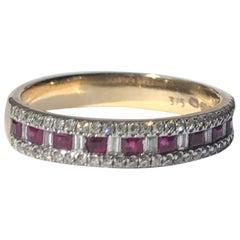 Vintage Ruby and Diamond 9 Carat Gold Half Eternity Ring