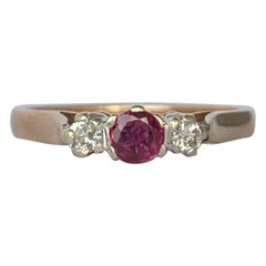 Vintage Ruby and Diamond 9 Carat Gold Three-Stone Ring