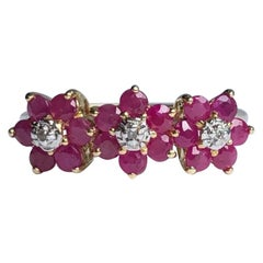 Vintage Ruby and Diamond 9 Carat Gold Triple Cluster Ring