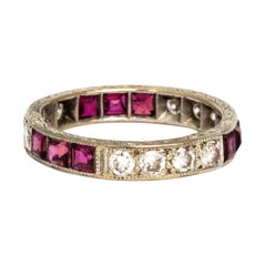 Vintage Ruby and Diamond Art Deco 18 Carat White Gold Eternity Ring