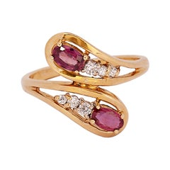 Vintage Ruby and Diamond Bypass 14k Yellow Gold Ring