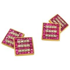 Vintage Ruby and Diamond Cufflinks
