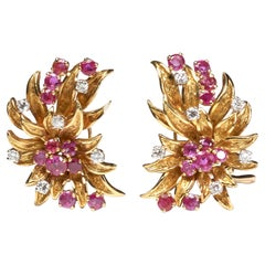 Vintage Ruby and Diamond Floral Earrings