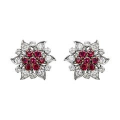 Vintage Ruby and Diamond Flower Cluster 18 Carat Gold Stud Earrings