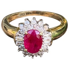 Vintage Ruby and Diamond Halo Gold Ring size 6