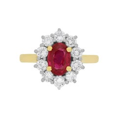 Vintage Ruby and Diamond Halo Ring, circa 1980s