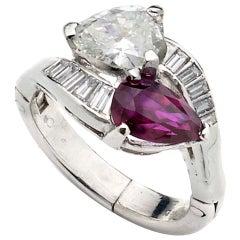 Vintage Ruby and Diamond Platinum Crossover Ring