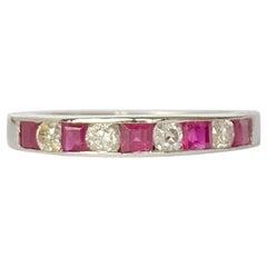 Vintage Ruby and Diamond Platinum Half Eternity Ring