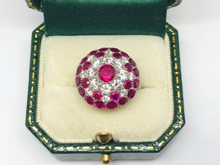 Vintage Ruby and Diamond Platinum Ring Circa 1950 For Sale 1