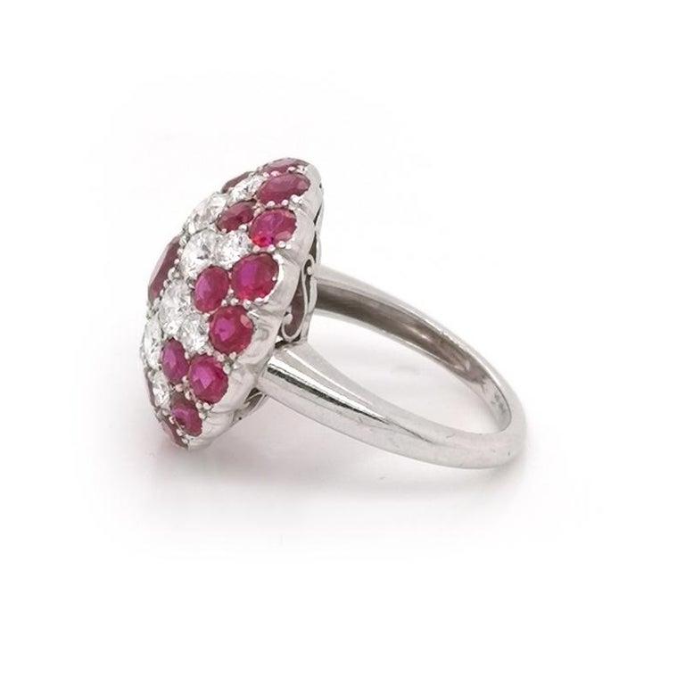 Retro Vintage Ruby and Diamond Platinum Ring Circa 1950 For Sale