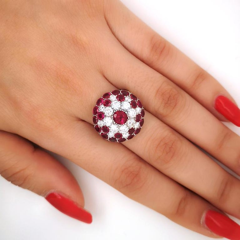 Women's Vintage Ruby and Diamond Platinum Ring Circa 1950 For Sale