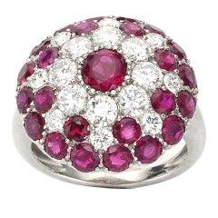 Vintage Ruby and Diamond Platinum Ring Circa 1950