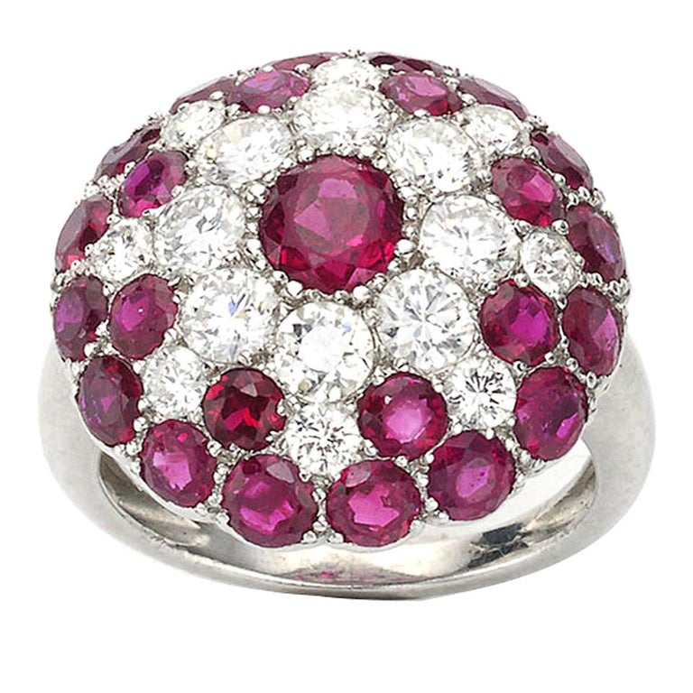 Vintage Ruby and Diamond Platinum Ring Circa 1950 For Sale