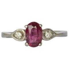 Vintage Ruby and Diamond Platinum Three-Stone Ring