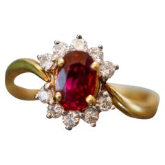 Vintage Ruby and Diamond Ring in 18 Karat Yellow-White Gold