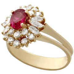 Vintage Ruby and Diamond Yellow Gold Cluster Ring