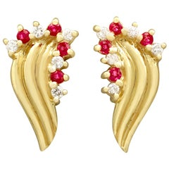 Vintage Ruby and Diamond Yellow Gold Stud Earrings