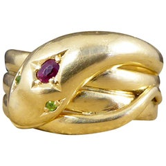 Vintage Ruby and Garnet Snake Ring in 18 Carat Yellow Gold