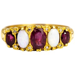 Vintage Ruby and Opal 18 Carat Gold Five-Stone Ring