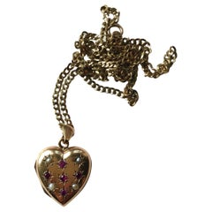 Vintage Ruby and Pearl 9 Carat Gold Locket and Chain