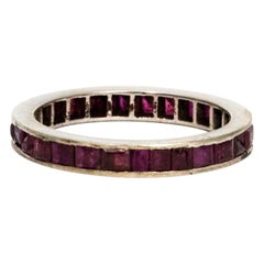 Vintage Ruby and Platinum Eternity Band