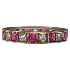 Vintage Ruby and White Sapphire 9 Carat Gold Eternity Band