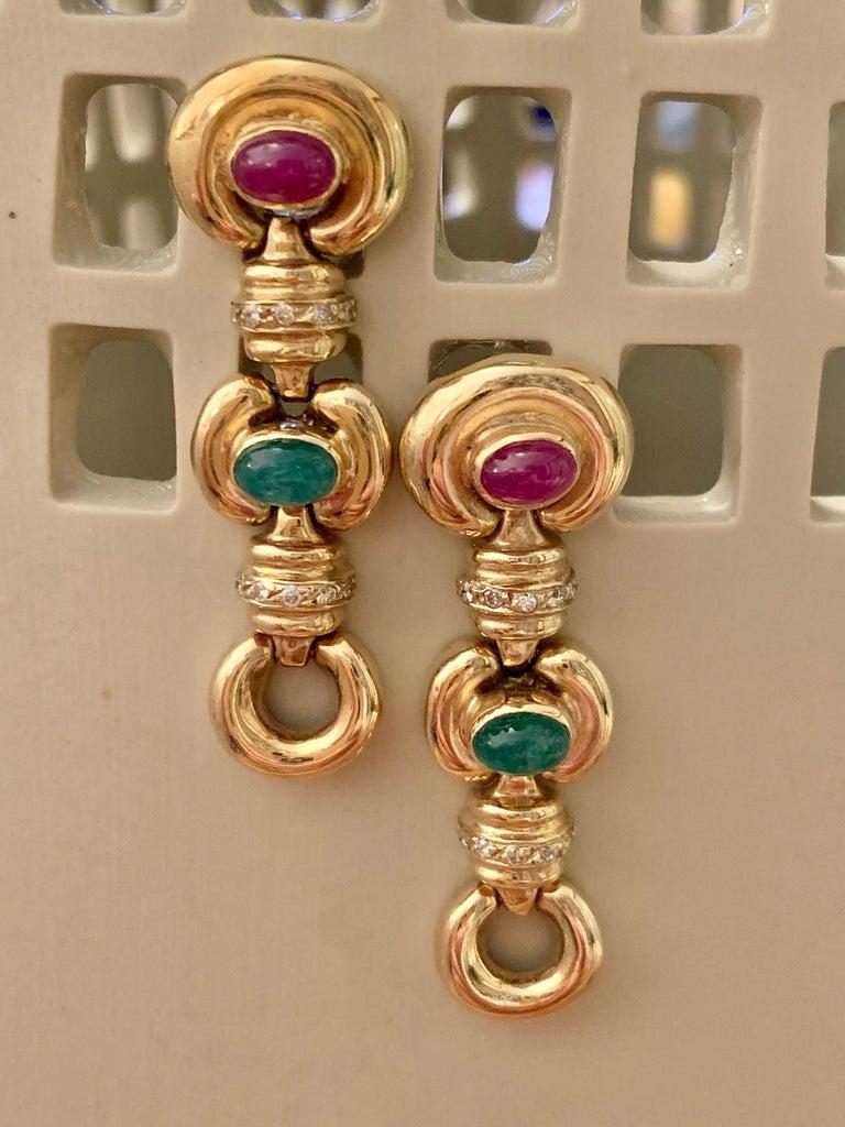 Vintage Ruby, Cabochon and Diamond 14 Karat Yellow Gold Drop Earrings 1