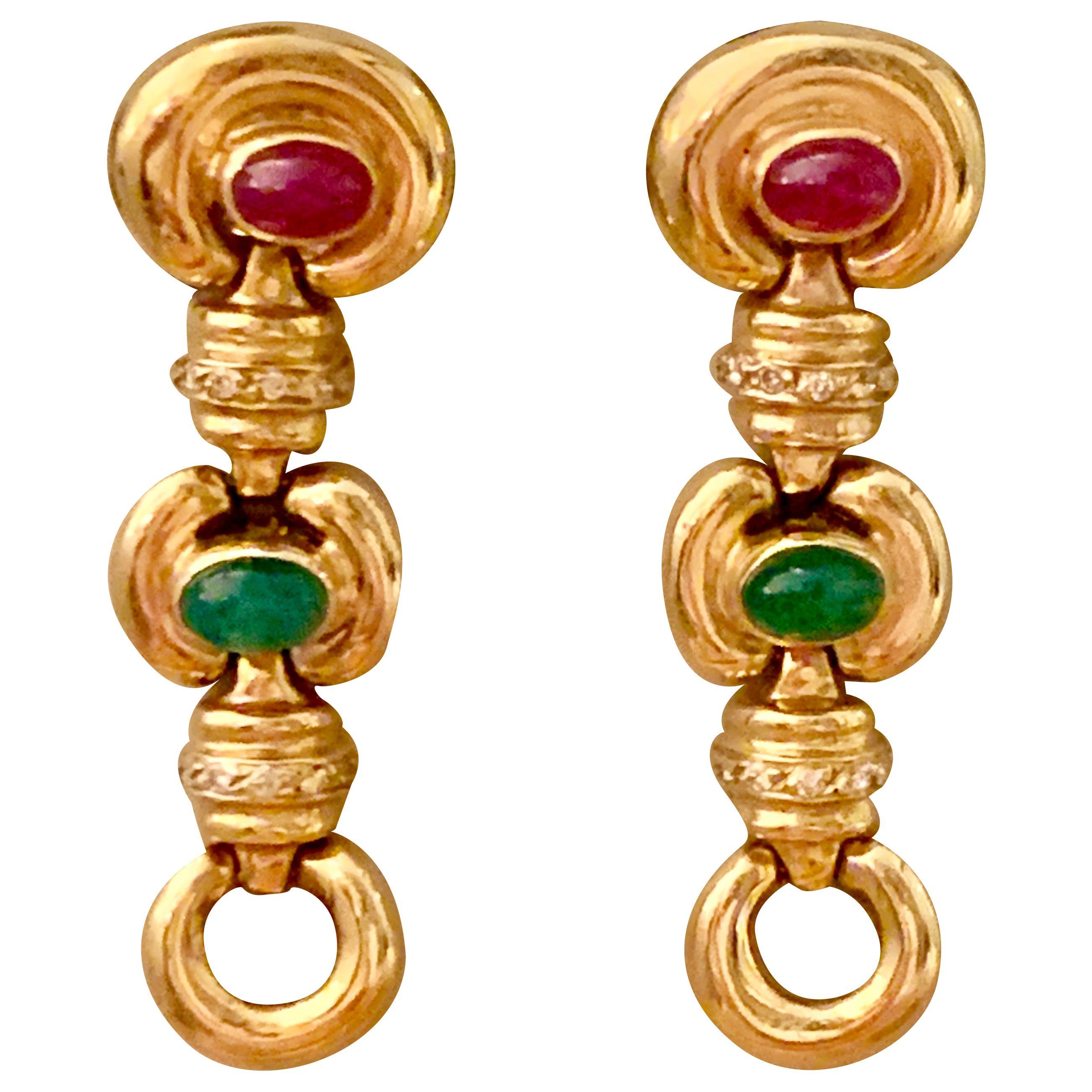 Vintage Ruby, Cabochon and Diamond 14 Karat Yellow Gold Drop Earrings