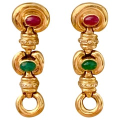 Vintage Ruby, Cabochon and Diamond 14 Karat Yellow Gold Drop Earrings
