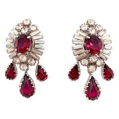 Vintage Ruby Crystal Drop Earrings 1950s Attr. Mitchel Maer
