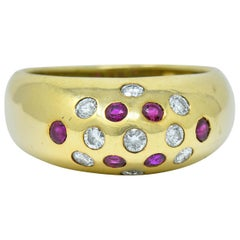 Vintage Ruby Diamond 18 Karat Gold Bombe Sprinkle Band Ring