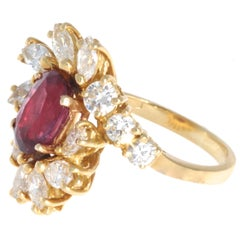 Vintage Ruby Diamond 18 Karat Gold Cluster Ring