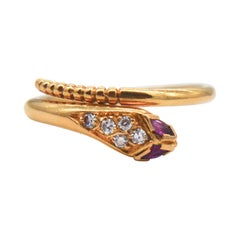 Vintage Ruby Diamond 18 Karat Gold Snake Wrap Ring