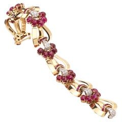 Vintage Ruby, Diamond and Gold Bracelet