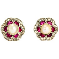 Vintage Ruby, Diamond and Pearl Cluster 18 Carat Gold Stud Earrings