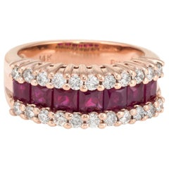 Vintage Ruby Diamond Band 14 Karat Rose Gold Ring Alternative Wedding Jewelry