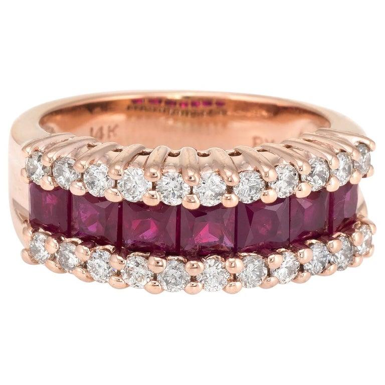 Vintage Ruby Diamond Band 14 Karat Rose Gold Ring Alternative Wedding Jewelry For Sale