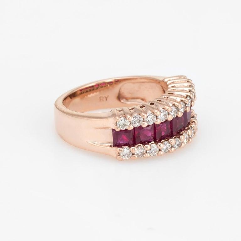 Modern Vintage Ruby Diamond Band 14 Karat Rose Gold Ring Alternative Wedding Jewelry For Sale