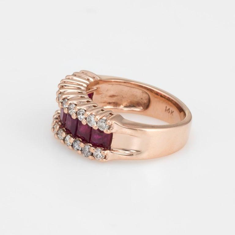 Cushion Cut Vintage Ruby Diamond Band 14 Karat Rose Gold Ring Alternative Wedding Jewelry For Sale