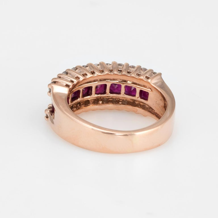 Vintage Ruby Diamond Band 14 Karat Rose Gold Ring Alternative Wedding Jewelry In Excellent Condition For Sale In West Hills, CA