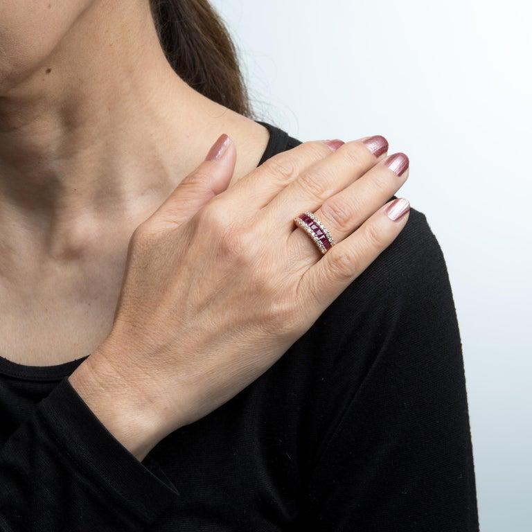 Women's Vintage Ruby Diamond Band 14 Karat Rose Gold Ring Alternative Wedding Jewelry For Sale